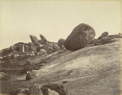 Vishnu's Butter-ball, Seven Pagodas [Mamallapuram]. Height = 25ft, greatest circumfce. 68ft, circumfce. of base = 19�½ft.